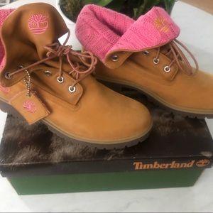 Women's Timberland Roll Top Pink Knit Boots Sz 8